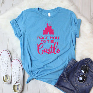 Race you to the castle, crew neck or v neck triblend tee, color options, Ladies tee, Disney family shirt, Disney shirt, magic Kingdom shirt