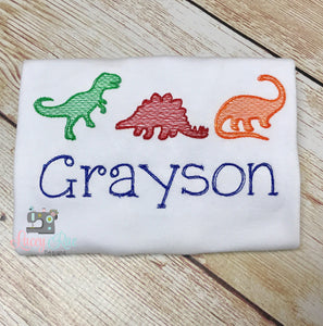 Personalized dinosaurs boys shirt,  custom boys dinosaur shirt, Dinosaur Embroidered boys Shirt, Vintage Sketch Embroidered Boys shirt