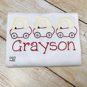 Personalized cozy coupe boys shirt,  custom boys truck or car shirt, Embroidered boys Shirt, Vintage Sketch Embroidered Boys shirt