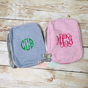 Monogrammed Seersucker Bible Cover, Personalized Seersucker Bible Case