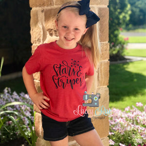 Stars and Stripes triblend shirt, womens or youth sizes, 4th of july, Memorial Day, patritoic, patriotic graphic tee, 4th of july kids shirt