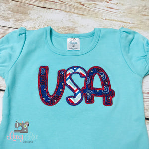 Patriotic outfit for Girls, patriotic girls shirt, USA shirt, 4th of July outfit, Patriotic embroidery, 4th of July Ruffle shirt and shorts