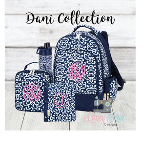 Girls Dani School Age Personalized Backpack lunchbox and pencil pouch set