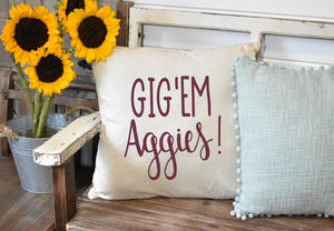 Gig'em Aggies Pillow Cover, Fall Decor, Fall Pillow Cover, Farmhouse Decor, Fall Pillow, Texas A&M gift, Aggie Home decor
