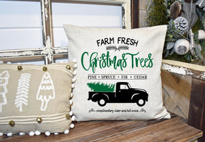 Christmas Tree Vintage Truck Pillow Cover, Christmas Decor, Winter Pillow Cover, Farmhouse Decor, Christmas Pillow, Christmas Home Decor