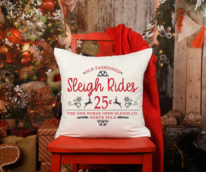 Sleigh Rides Vintage pillow Cover, Christmas Decor, Winter Pillow Cover, Farmhouse Decor, Christmas Pillow, Christmas Home Decor