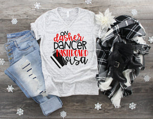 On Dasher Dancer on Visa Graphic Tee, Ladies Christmas shirt, Christmas shirt, Nutcracker market, Holiday Graphic Tee, Black Friday tee
