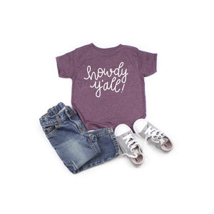 Howdy yall Aggies toddler or youth shirt, game day shirt, Texas A&M shirt, crew neck triblend tee, color options, boy or girl