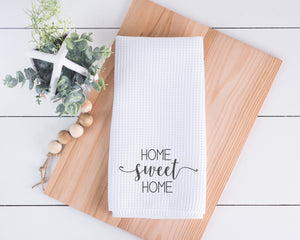Home sweet Home dish Towel, Personalized tea towel, Home Decor, Custom tea towel, Farmhouse Decor, Housewarming gift, Newlywed gift