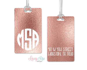 Rose Gold Monogrammed luggage tag, Custom Luggage Tag, Monogrammed Gift, Personalized Luggage Tag, Bag Tag, Suitcase Travel Tag