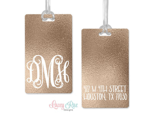 Gold Monogrammed luggage tag, Custom Luggage Tag, Monogrammed Gift, Personalized Luggage Tag, Bag Tag, Suitcase Travel Tag