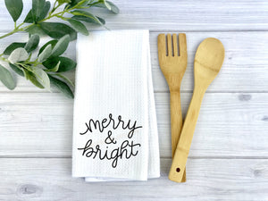 Merry and Bright dish Towel, Personalized tea towel, Christmas Home Decor, Custom tea towel, Farmhouse Decor, Christmas gift, Hostess gift