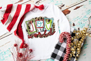 Joy to the World Christmas Shirt, Girls graphic tee, Girls Printed shirt, sublimation, personalized holiday gift, Holiday shirt, toddler