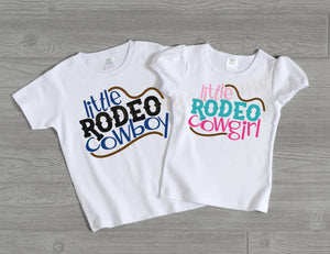 Little Rodeo Cowboy or Cowgirl shirt, rodeo shirt for kids, rodeo sibling shirts, toddler rodeo shirt, cowgirl or cowboy tee