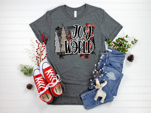 Joy to the World Christmas Shirt, Tri-blend tee, crew or v-neck, Long or short sleeve, Women's Christmas Tee, Christmas Graphic Tee