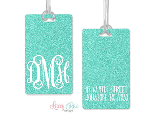 Mint Glitter Monogrammed luggage tag, Custom Luggage Tag, Monogrammed Gift, Personalized Luggage Tag, Bag Tag, Suitcase Travel Tag