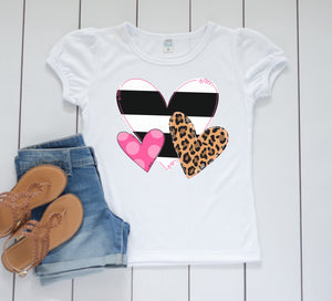 Leopard Heart Trio Valentines Day shirt, Personalized Valentines Shirt, toddler or little girls valentines shirt, Girls valentines day shirt