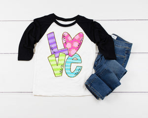 LOVE Valentines Day shirt, Personalized Valentines Shirt, toddler or little girls valentines shirt, Girls valentines day shirt