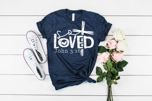 So Loved Ladies Christian quote shirt, crew or v-neck, Women's Christian Tee, Christian Graphic Tee, Gift for her, Christian gift