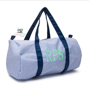 Personalized Navy Seersucker Duffel Bag