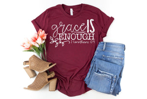 Grace is Enough Christian quote shirt, crew or v-neck, Women's Christian Tee, Christian Graphic Tee, Gift for her, Christian gift