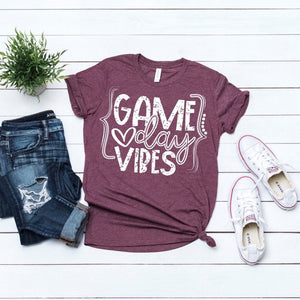Game day vibes Aggies shirt, game day shirt, Texas A&M shirt, crew neck triblend tee, color options, maroon and white