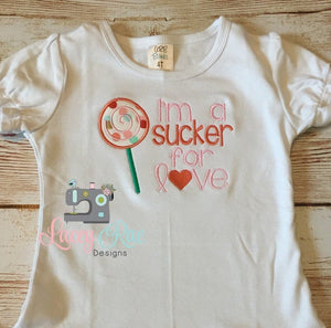 I'm a sucker for love, Monogrammed Valentines toddler and little girls shirt, custom personalized Valentines shirt