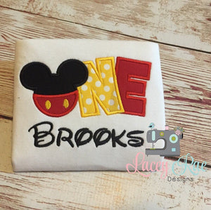 Personalized custom mickey mouse 1st birthday shirt, One, mickey applique birthday shirt, Mickey birthday party