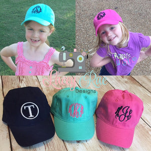 Monogrammed Cotton Kids Hat/Cap with adjustable back,  personalized Kids cap, baseball cap, ball cap,