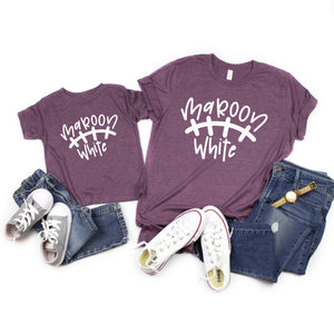 Maroon and white Texas A&M shirts