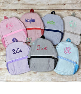 Monogrammed Seersucker Preschool or Toddler Backpack