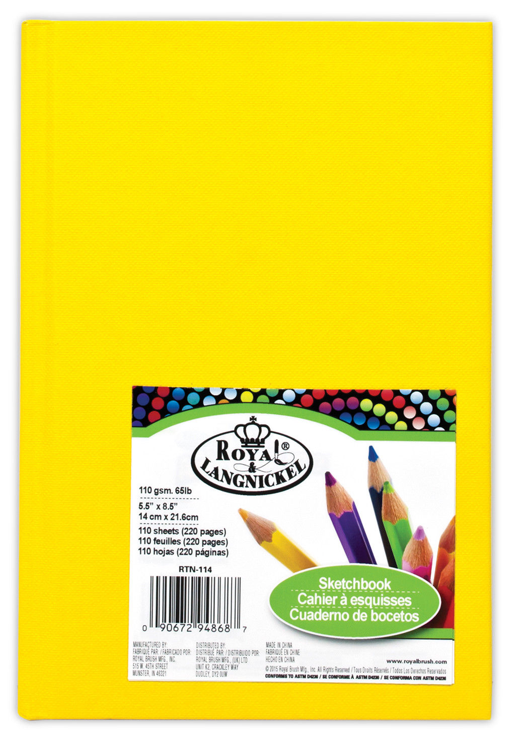 Royal & Langnickel A5 Yellow Sketchbook - RTN114
