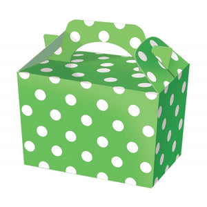 Green polka dot party boxes