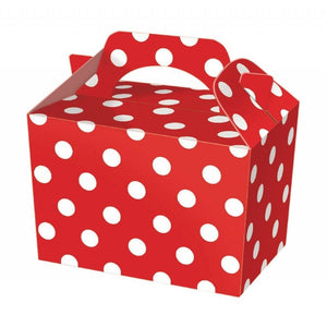 Red polka dot party boxes