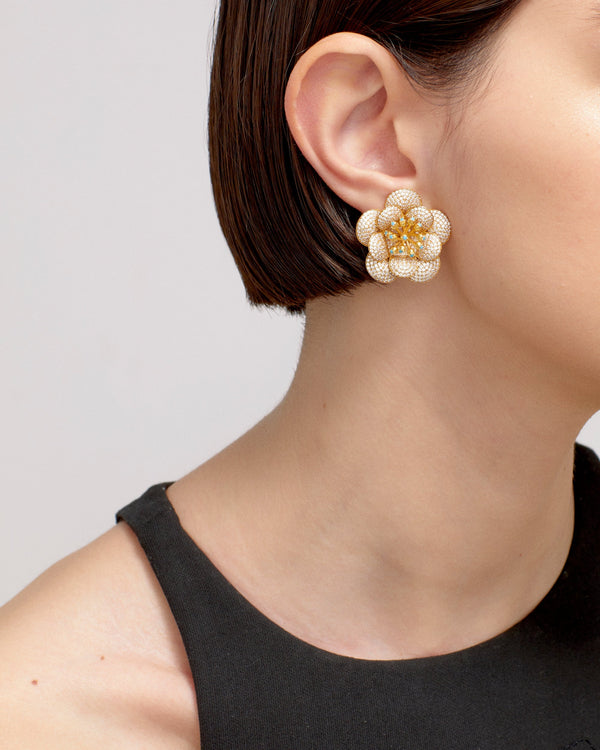 CARNATION EARRINGS---CRYSTAL GOLD PLATED