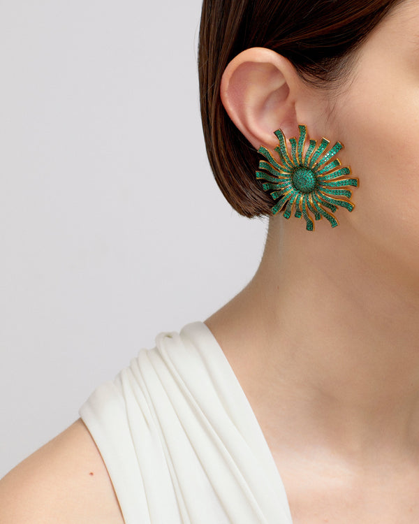 GOD OF THE SUN EARRINGS---GREEN GOLD PLATED