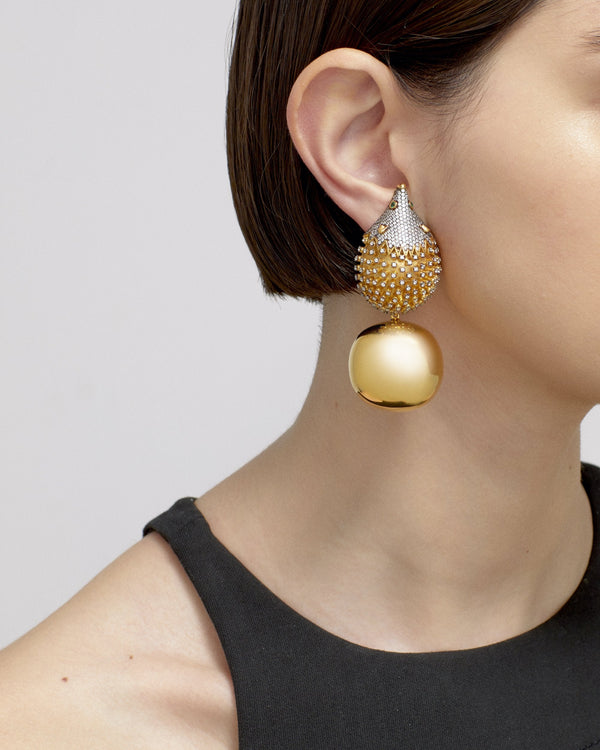 HOHO PARTY EARRINGS---CRYSTAL GOLD BONBON