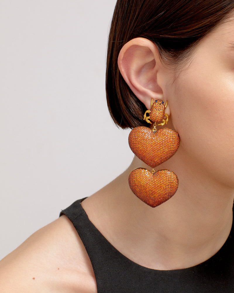 SCARAB MON AMOUR EARRINGS---MANDARIN GOLD PLATED