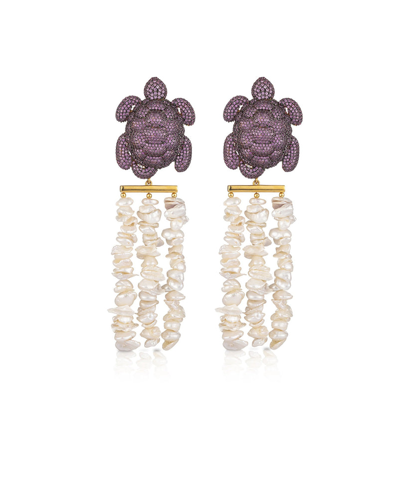 CARETTA NAPOLEON EARRINGS---BLACK GOLD PLATED