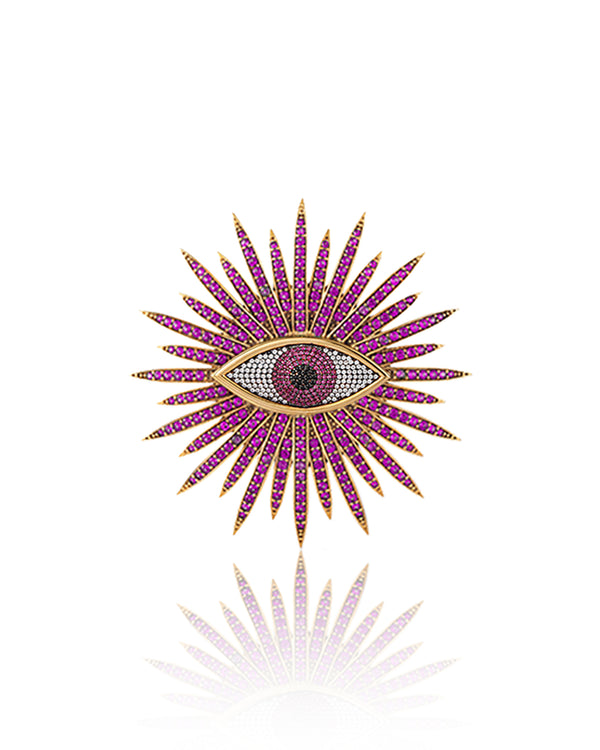 EYE OF THE SUN BROOCH---GREEN & NAVY RHODIUM PLATED