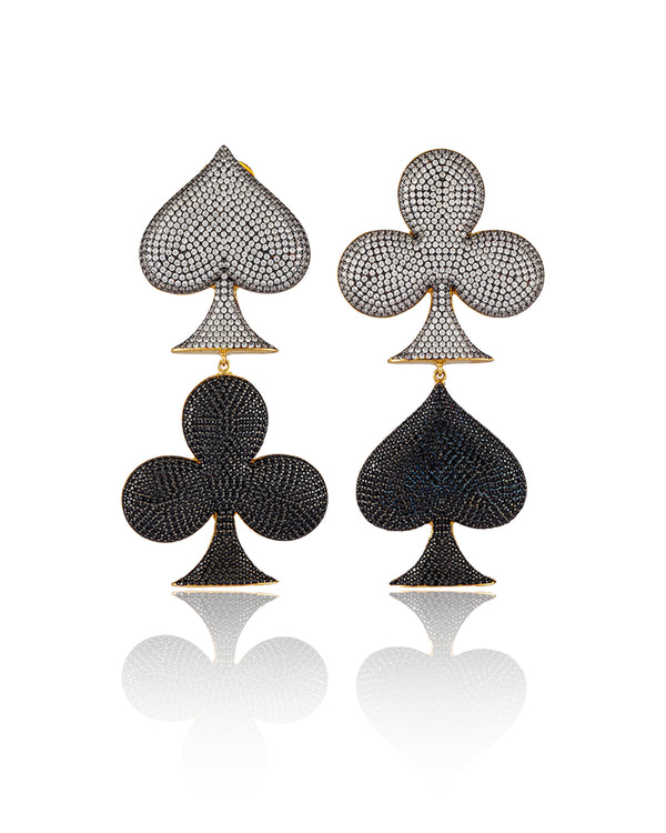 LIFE IS A GAME EARRINGS---CRYSTAL & BLACK GOLD PLATED