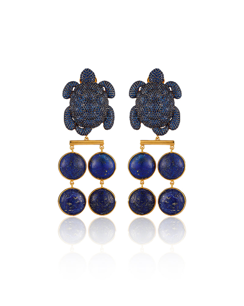CARETTA MUSTIQUE EARRINGS--- NAVY GOLD PLATED