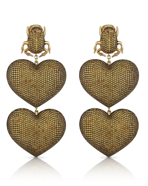 SCARAB MON AMOUR EARRINGS---CHAMPAGNE GOLD PLATED