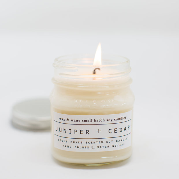Juniper + Cedar 8 Oz Mason Candle