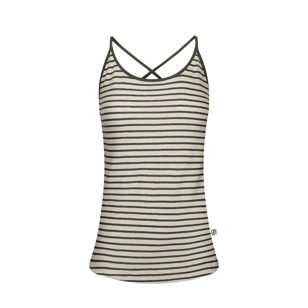 String Top Striped Linen Ladies Grey | Green