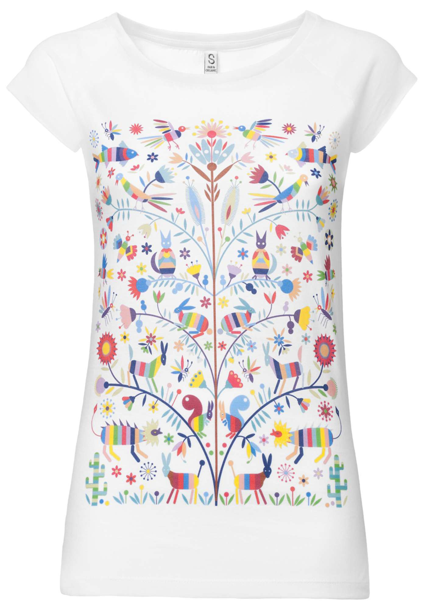 Otomi T-Shirt Cap Sleeve White