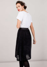 WATERLILY Skirt Velvet Stripes Black Bio & Fair