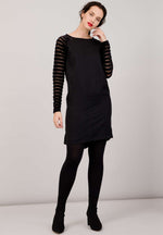 STARWORT Dress Velvet Stripes Black Nachhaltig & Fair