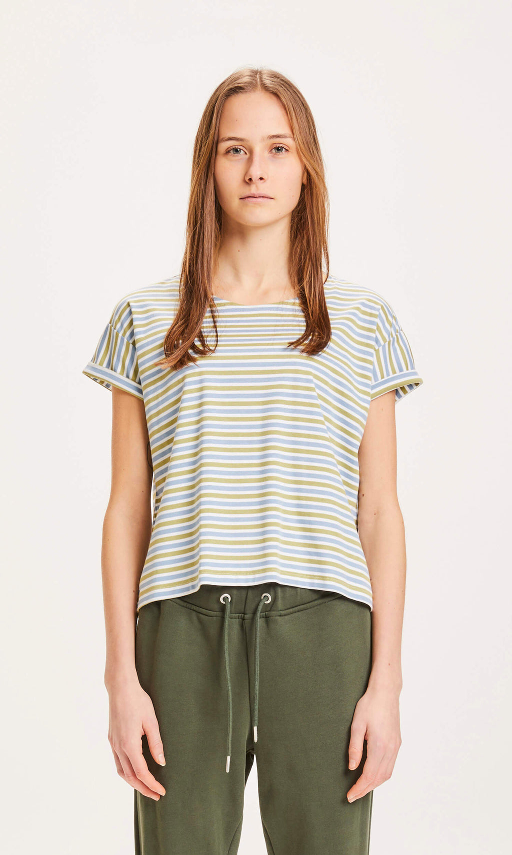T-Shirt VIOLET mercerized striped loose tee von Knowledge