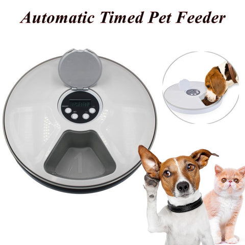 Round Timing Feeder Automatic Pet Feeder 6 Meals 6 Grids Cat Dog Electric Dry Food Dispenser 24 Hours Feed Pet Supplies 40%off